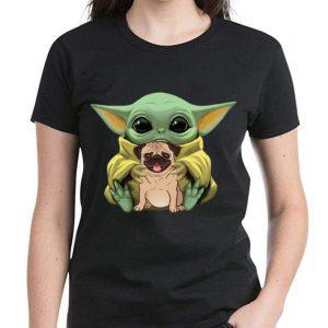 Hot Star Wars Baby Yoda Hug Pug Dog Lovers shirt 2