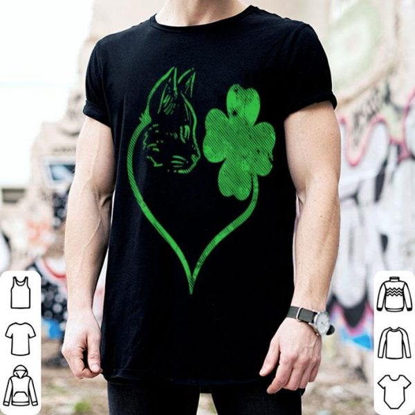 Awesome Cat Silhouette Shamrock St Patricks Day Kitten Lover Pet shirt