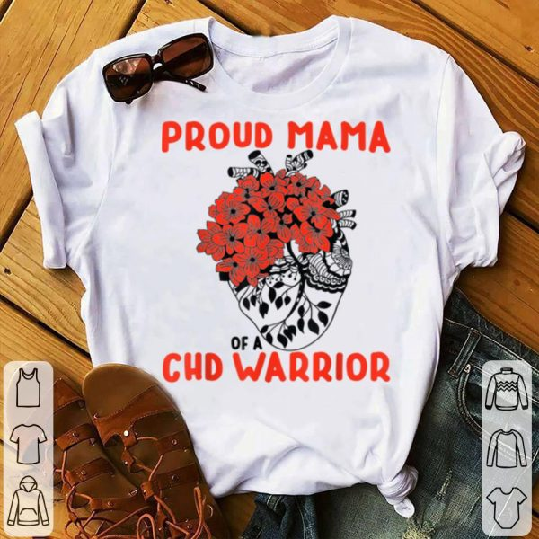 Awesome Chd Warrior Proud Mama Pretty Red Floral Heart Design shirt