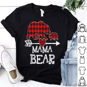 Awesome Red Plaid Mama Bear One Cub Matching Buffalo Pajama Xmas shirt