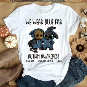 Baby Groot and Toothless We wear blue for Autism Awareness shirt