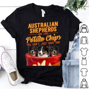 Beautiful Australian Shepherd And Potatoes Chips Funny Dog Mama Papa shirt