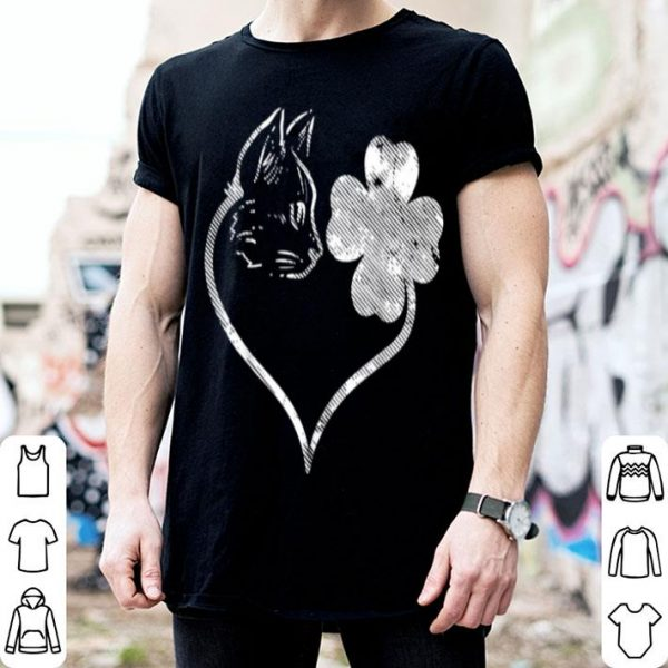 Beautiful Cat Silhouette Shamrock St Patricks Day Kitten Lover Pet shirt