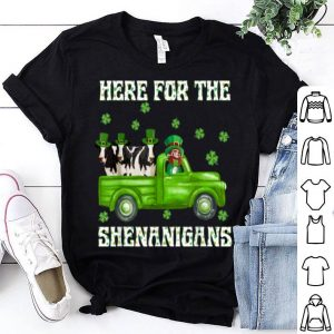 Beautiful Here For The Shenanigans Leprechaun Cow St Patrick's Day shirt