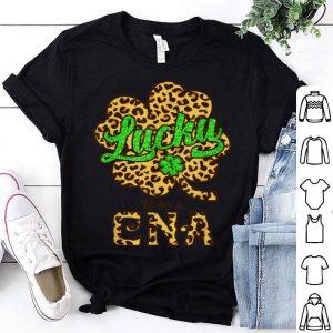 Nice Leopard Plaid Shamrock Lucky To Be A Cna St Patrick's Day shirt