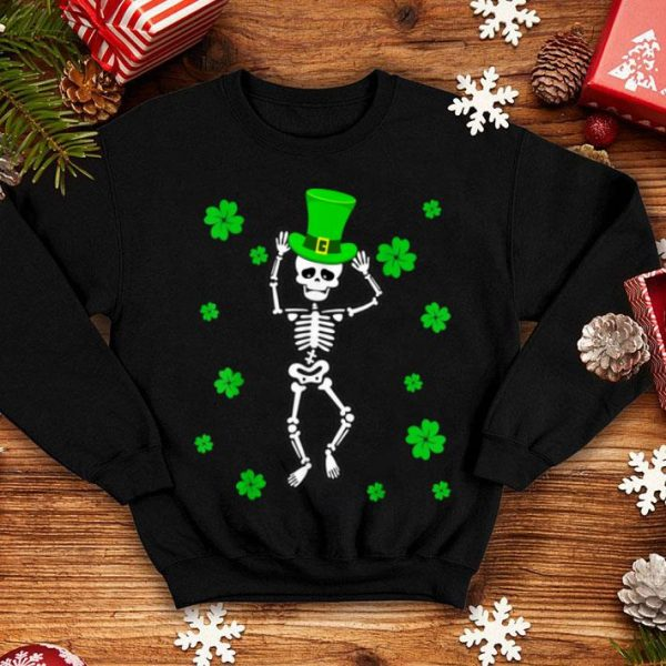 Official Dabbing Leprechaun Skeleton Shamrock St Patrick's Day Gifts shirt