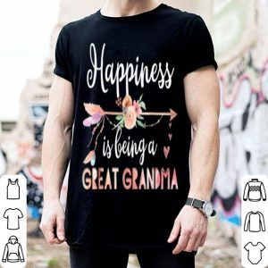 Premium Top Happiness Is Being A Great Grandma Floral Mother's Day Gift shirt