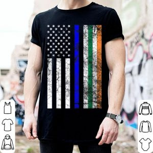Top Irish American Flag Thin Blue Line Police St. Patrick's Day shirt