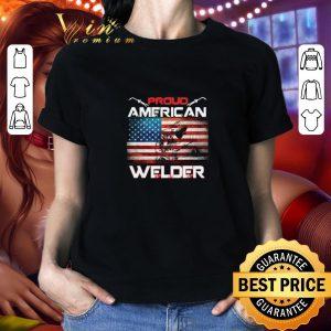 Top Proud American flag Welder shirt
