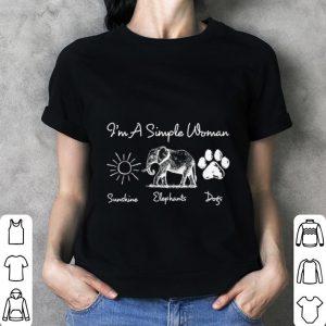 I'm a simple woman sunshine elephants paw dogs shirt 2