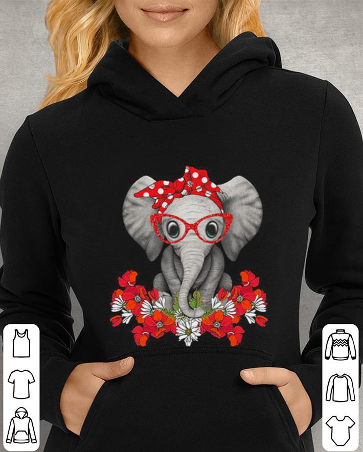 Red bow Elephant with flowers shirt 4 - Red bow Elephant with flowers shirt