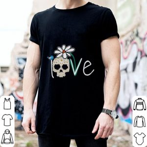 Skull Love White Daisy Flower bird shirt 1