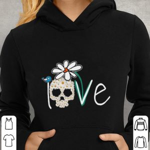 Skull Love White Daisy Flower bird shirt 2