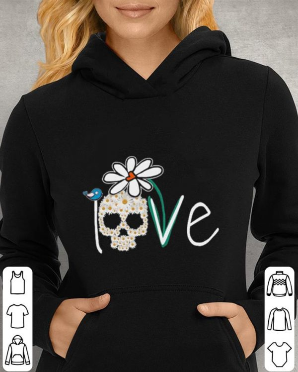 Skull Love White Daisy Flower bird shirt