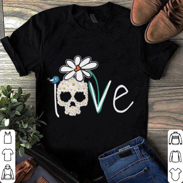 Skull love white daisy flower shirt