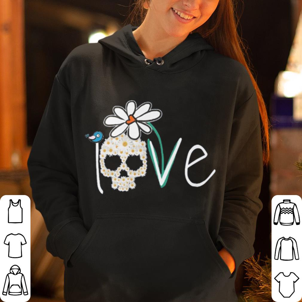 Skull love white daisy flower shirt 4 - Skull love white daisy flower shirt