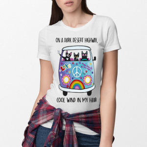 Cats and Hippie Bus on a dark desert highway cool wind in my hair shirt 2