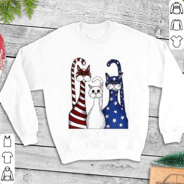 Cat USA flag American shirt