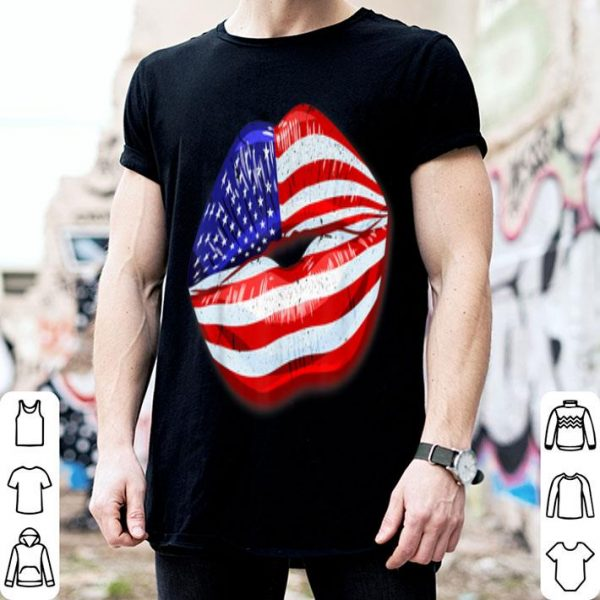 American Flag Kissing Lips Independence 4th Of July shirt