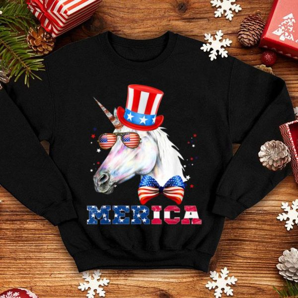 American Flag Merica Patriotic Unicorn 4th of July shirt