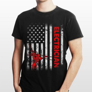 American Flag Patriotic Electrician Lineman 4th Of July shirt