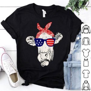 Best Cow U.S Flag Sunglasses 4th Of July Independence Day shirt