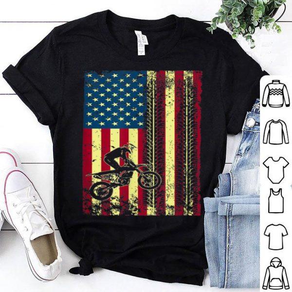 Dirt Bike Motocross Biker American Flag July 4th shirt