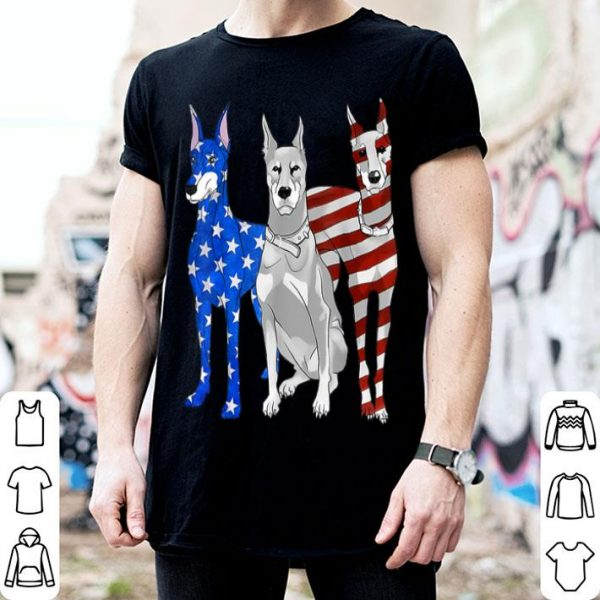 Doberman Pinscher Patriotic American Flag 4th Of July shirt