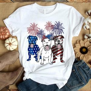Fireworks Pitbull 4th of July independence day American flag shirt