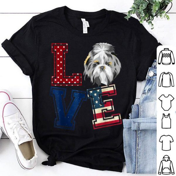 Love Shih Tzu American Flag Patriotic 4th Of July shirt