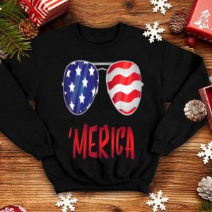 Merica Usa Flag 4th Of July Sunglasses Outfit shirt