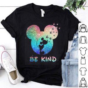 Mickey head I love you sign language be kind shirt