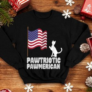 Pawtriotic Pawmerican Funny 4th Of July Cat Lover USA Flag shirt