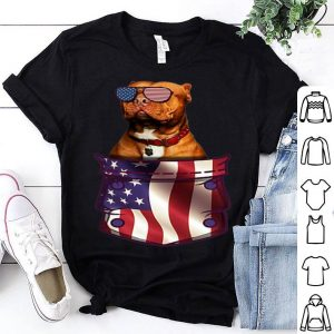 Pitbull In Pocket American Flag 4th July shirt