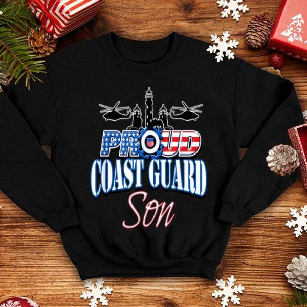 USA Proud Coast Guard Son USA Flag Military shirt