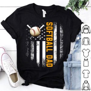 Vintage Softball Dad American Flag Father's Day shirt