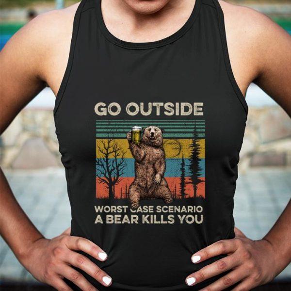 Camping bear go outside worst case scenario a bear kills you vintage shirt