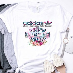 Flower Adidas all day I dream about Harley Davidson shirt