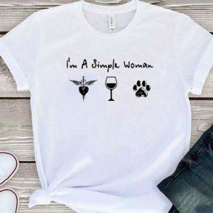 I'm a simple woman i like Bon Jovi wine dog paw shirt