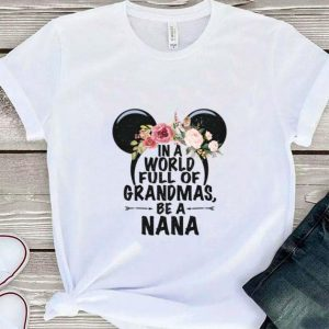 Minnie mouse head in a world full of grandmas be a nana flower shirt