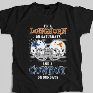 Pretty I'm a Texas Longhorns on saturdays and a Dallas Cowboys football on sundays shirt