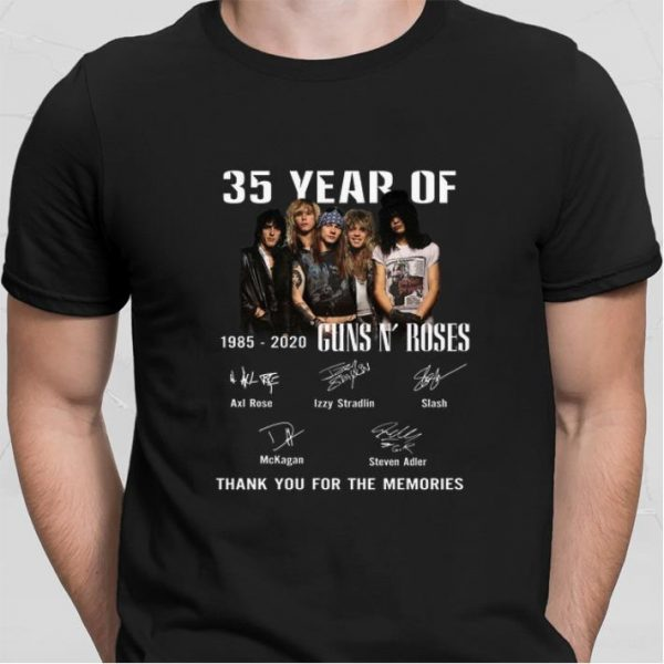 35 Year Of Gun N Roses 1985-2020 Signatures Thank You For The shirt