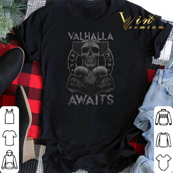 Skull Valhalla Awaits Viking shirt sweater