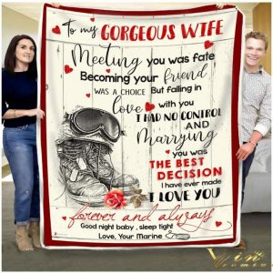 Us Marine to my gorgeous wife meeting you was fate quilt blanket