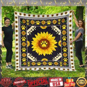 Sunflower Dog Paw quilt blanket