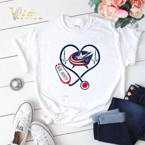 Blue Jackets heart Nurse stethoscope shirt sweater 1