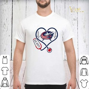 Blue Jackets heart Nurse stethoscope shirt sweater 2