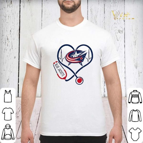 Blue Jackets heart Nurse stethoscope shirt sweater