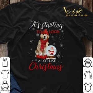 Golden Retriever It's starting to look a lot like Christmas shirt sweater 2