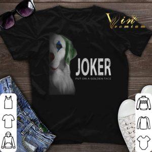 Golden Retriever Joker put on a golden face shirt sweater